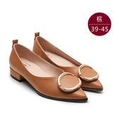 中大尺碼女鞋 尖頭簡約金屬飾釦包鞋/低跟鞋 39-45碼 172巷鞋舖【YD88-18】棕