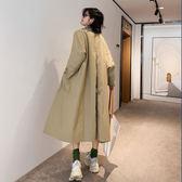 秋季休閑寬松大版OVERSIZE長款翻領大口袋風衣女外套3109#ZLC415快時尚