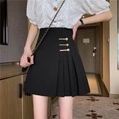 百摺裙夏季新款高腰顯瘦復古設計感網紅ins百摺A字半身短裙女裙子潮 JUST M