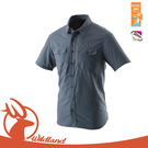 【Wildland 荒野 男 排汗抗UV短袖襯衫《藍灰》】W1206/休閒上衣/戶外活動/上班服裝/防曬