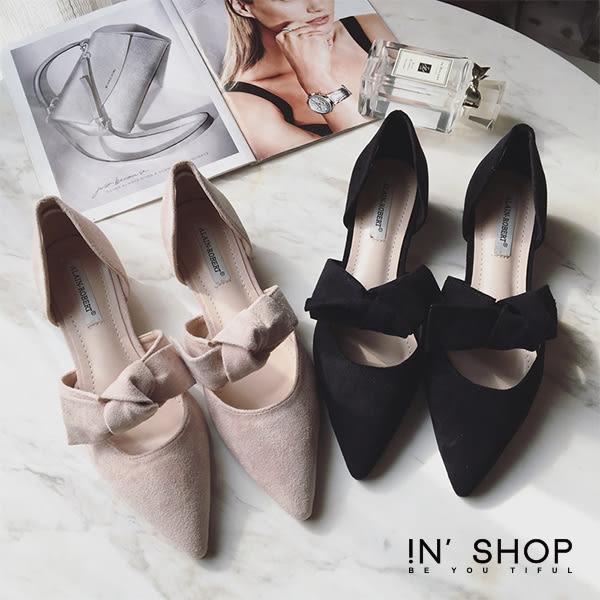 IN' SHOP 尖頭跟鞋-法式小香蝴蝶鈕結麂皮絨質低跟鞋-共2色【KF00367】
