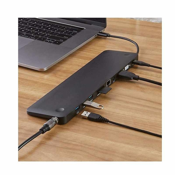 Amazon Basics Pedestal 擴展塢 3 USB-A, Ethernet, SD/TF Card Reader, Audio, and Type-C 黑 [2美國直購]