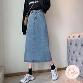 大碼牛仔半身裙女夏季高腰長裙夏設計感包臀裙子【大碼百分百】