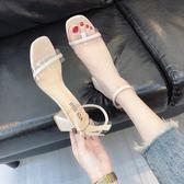羅馬涼鞋女2018夏新款韓版一字扣粗跟高跟鞋透明chic百搭女鞋zzy103『愛尚生活館』