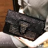 韓版時尚手拿包信封包女2020新款手包鑲鑚小包手抓包個性宴會女包【果果新品】