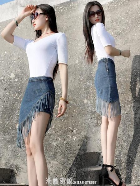新款流蘇牛仔裙半身裙女褲裙包臀春夏季韓版假兩件內襯短裙子 「米蘭街頭」
