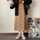 2020新款韓版碎花裙高腰半身裙女夏季a字裙顯瘦中長款裙子油畫裙