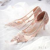 婚鞋仙女粉色婚鞋女2019新款蕾絲低跟鏤空高跟鞋禮服鞋新娘細跟伴娘鞋PH842【彩虹之家】