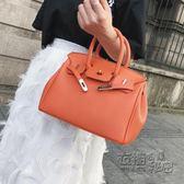 新款小號鉑金包歐美時尚荔枝紋單肩女包手提包斜背時尚小包包 衣櫥の秘密