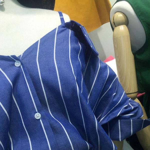 吊帶襯衫 俐落亮眼直條紋露肩吊帶長袖襯衫 艾爾莎【TGK4809】