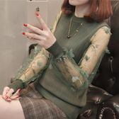 蕾絲打底衫女2018春裝新款韓版寬鬆針織衫套頭薄款冰絲長袖上衣秋【小梨雜貨鋪】