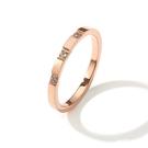316L醫療鋼 3顆小鑽 白水晶 戒指尾戒-玫瑰金 防抗過敏 不退色