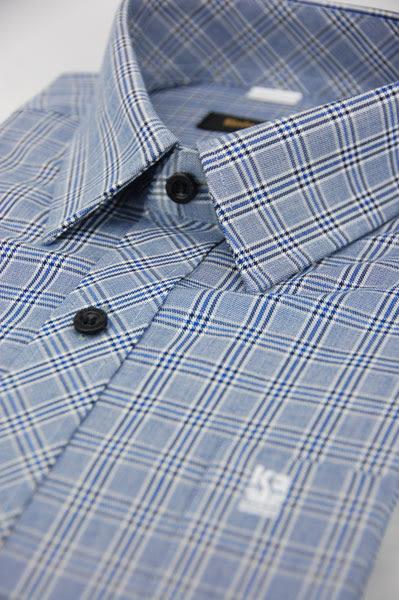 【金‧安德森】藍黑寬格窄版長袖襯衫