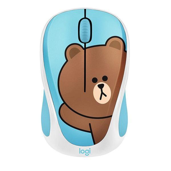 【送禮】羅技LINE FRIENDS無線滑鼠布朗熊可愛卡通筆記本臺式