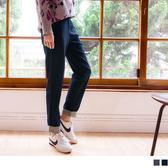 《BA4582-》純色磨毛褲腳格紋反褶直筒褲 OB嚴選