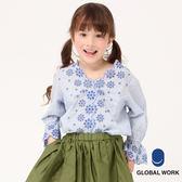 GLOBAL WORK童素色條紋花朵波浪領鏤空喇叭袖造型長袖襯衫-三色