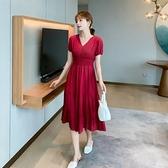 洋裝短袖v領裙子甜美S-XL新款桔梗初戀裙子森係法式長裙收腰顯瘦連身裙H325-9090.胖胖唯依