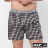 【JEEP】五片式剪裁 純棉平口褲(紅色小格紋)