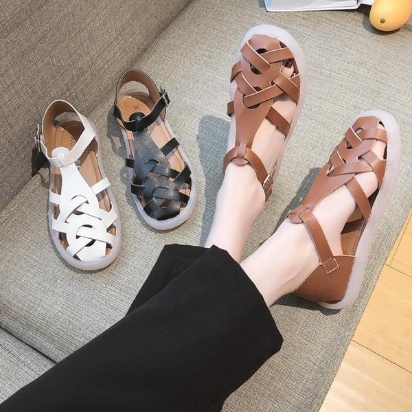 洞洞鞋女2021年夏新款鏤空透氣平底學生百搭一字扣羅馬涼鞋仙女風 蘇菲小店