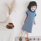 兒童連身裙 女童帥氣海軍風藍條紋無袖T恤裙夏季【淘夢屋】