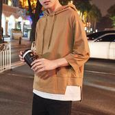 夏季連帽短袖T恤男潮韓版衛衣7七分袖寬鬆假兩件學生bf五分袖半袖
