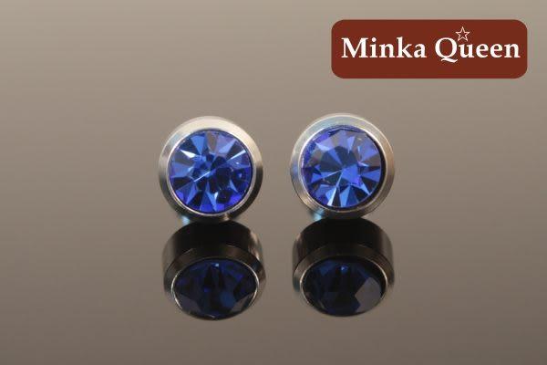 德國鈦鋼厚框包深藍色精緻水鑽抗敏耳環(一對)(8 mm)