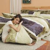 [SN]#UAA003#細磨毛天絲絨5x6.2尺雙人舖棉床罩+鋪棉兩用被套+枕套+抱枕/五件組-台灣製