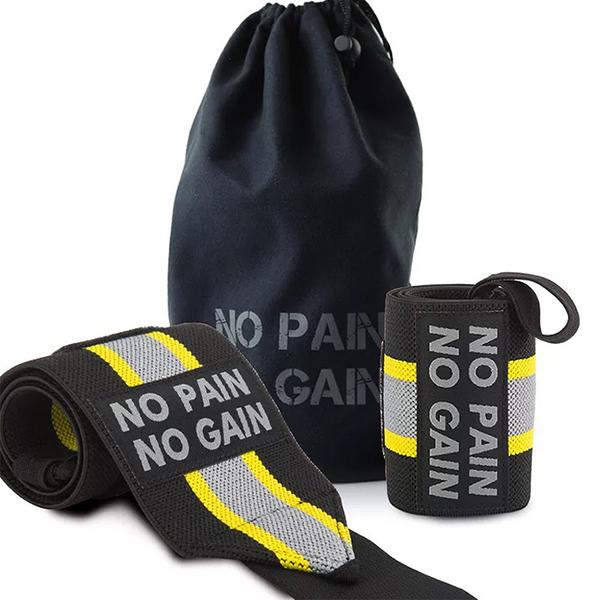 NO PAIN NO GAIN 蝙蝠俠概念配色 條紋護腕 套拇指魔鬼氈運動護腕(贈收納袋)