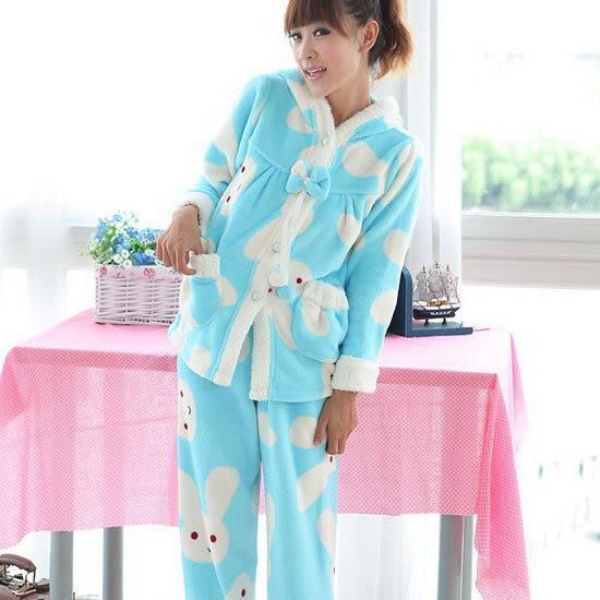 【Sexy cat】超盟小兔 可愛二件式睡衣/睡袍/居家服(甜美藍)