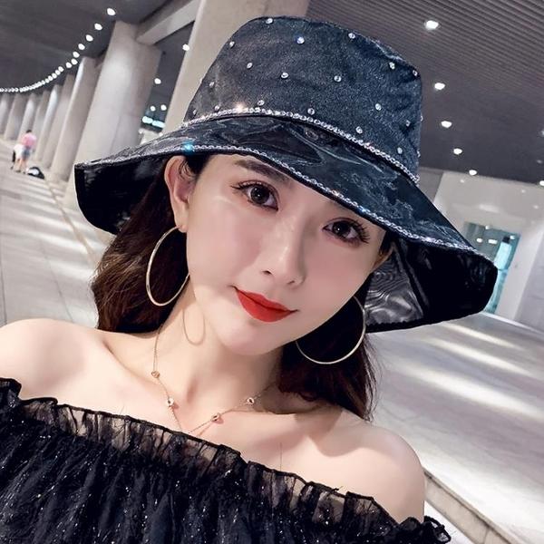 韓國輕奢小香風亮鉆帽子女夏天漁夫帽綢緞網紗洋氣優雅大檐遮陽帽 西城故事