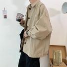 夾克男 港風春秋正韓工裝外套男寬鬆潮牌潮流學生原宿純色夾克
