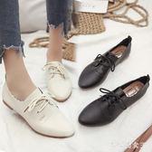 韓版新款小白鞋女百搭夏女鞋系帶小皮鞋牛津鞋休閒鞋透氣平跟平底單鞋zzy571『大尺碼女王』