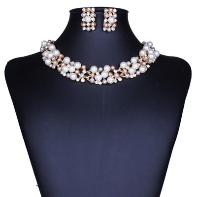 項鍊鍍18K金+耳環-高雅氣質珍珠水鑽女毛衣鍊73nt7[時尚巴黎]