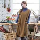 【Tiara Tiara】激安 長短版混羊毛短袖洋裝(土黃)