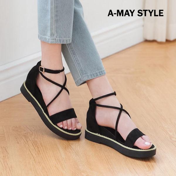 涼鞋-絨面交叉感羅馬楔型涼鞋