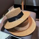 沙灘帽 夏天男女手工編織寬檐平檐禮帽遮陽防曬度假沙灘太陽草帽