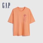 Gap男女同款 厚磅密織系列Logo寬鬆廓形短袖T恤 697713-橙色