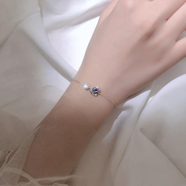 手鍊 銀宇宙星空星球手鍊簡約個性設計感小?學生手環韓版閨蜜飾品女