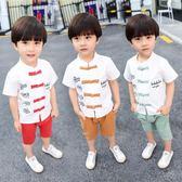 唐裝套裝男童 男童民族棉麻唐裝寶寶周歲古裝小孩衣服夏童裝漢服兒童中國風套裝 米蘭街頭