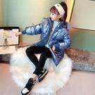 女童外套 2020冬季新款亮皮連帽帶毛領加厚保暖收腰棉服中大童【新年禮物】