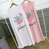 (全館一件免運)DE SHOP~(HL-3206)Aamingo粉紅鶴膠印長版棉質洋裝