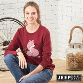 【JEEP】女裝 立體狐狸圖騰長袖針織衫 (紅色)