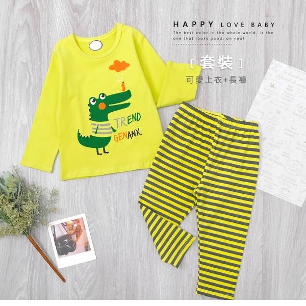 寶寶 趣味鱷魚小鳥雲朵英文條紋套裝 上衣+長褲 蘋果綠 可愛 塗鴉 休閒 童裝 寶寶童裝