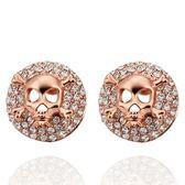 耳環 純銀鍍18K金 鑲鑽-個性骷髏生日聖誕節禮物女飾品73cg283【時尚巴黎】
