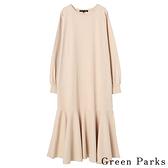 「Spring」拼接荷葉下擺連身洋裝 - Green Parks