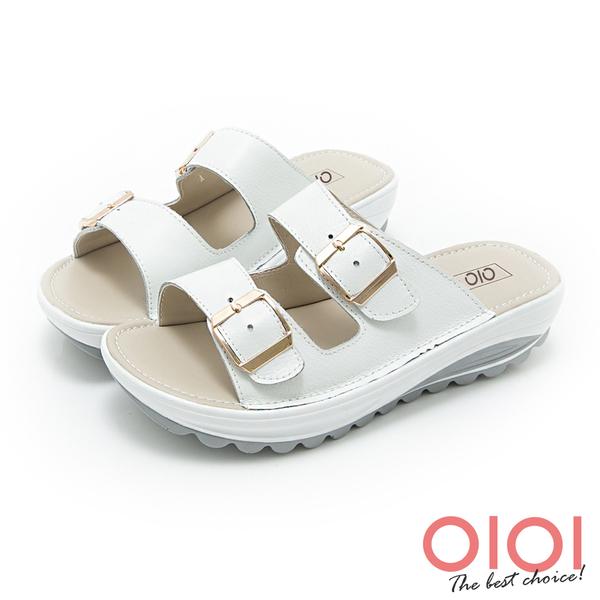 涼拖鞋 經典復刻雙側釦飾真皮厚底涼拖鞋(白)*0101shoes 【18-406w】【現貨】