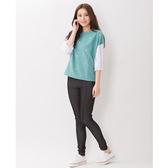TOP GIRL 拼接圓領針織衫-水藍綠