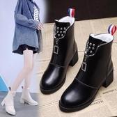 馬丁靴女英倫風2020新款秋冬單靴百搭加厚絨前拉鏈網紅瘦瘦靴短靴 雙十一全館免運