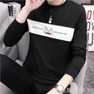 男士長袖t恤2020新款春季韓版潮流ins圓領寬鬆連帽T恤上衣服百搭 蘿莉小腳丫