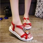 羅馬民族風露趾涼鞋女夏季新款細帶組合一字型平底涼鞋鬆緊帶 卡布奇诺